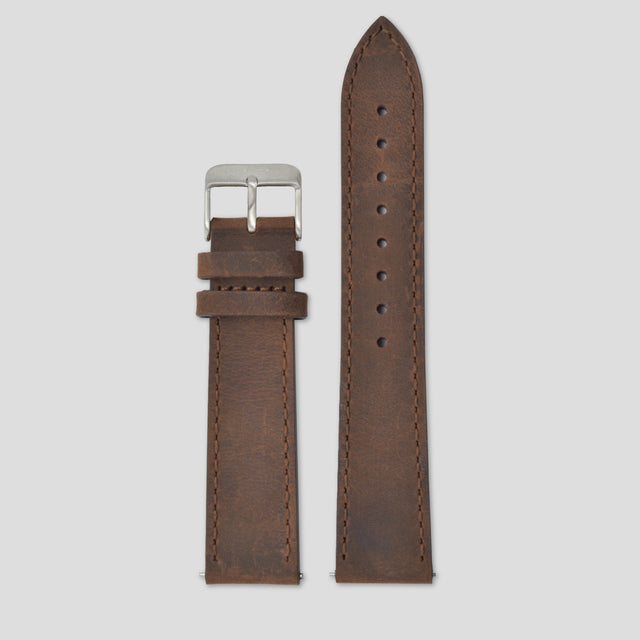 20mm Strap - Coffee Leather / Silver