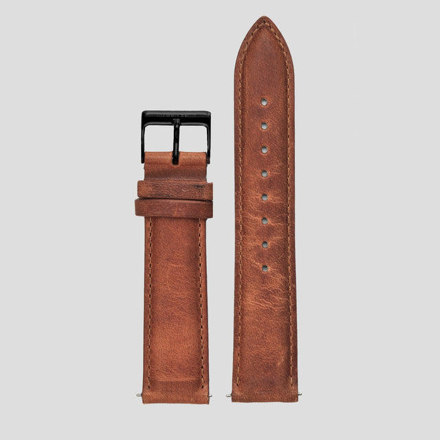 20mm Strap - Used Look Leather / Black