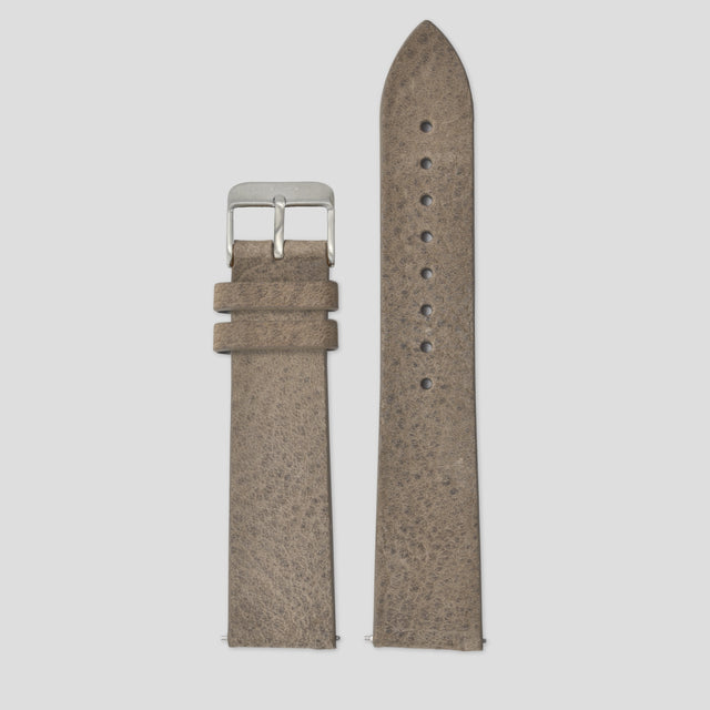 20mm Strap - Walnut Leather / Silver
