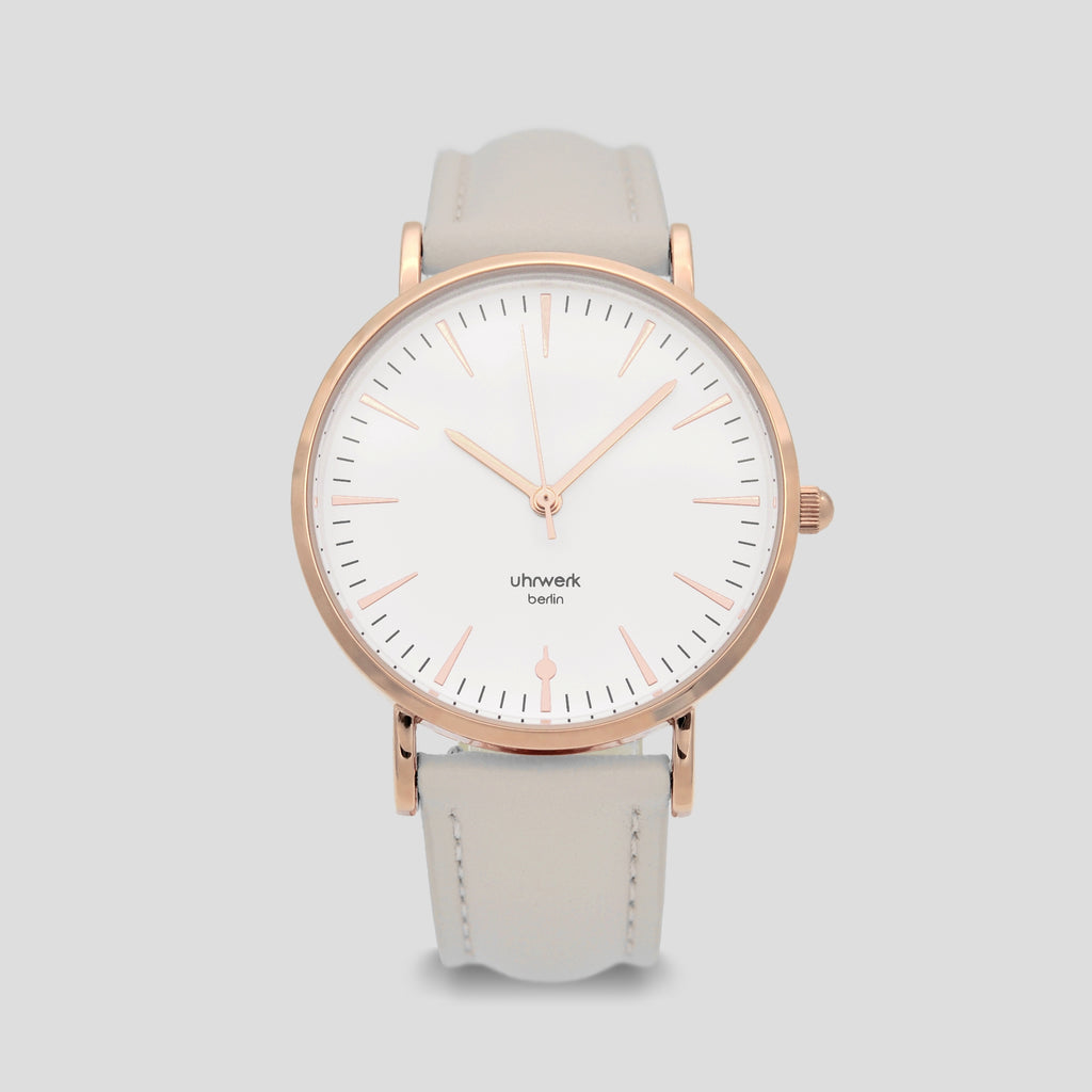 Paula Rose Gold - Light Grey Leather