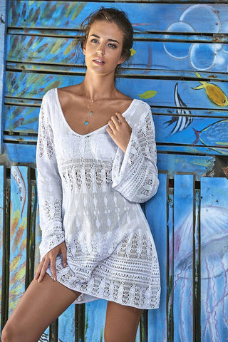 Water Lily White Crochet Bella Tunic from PilyQ 2017 Resort Collection