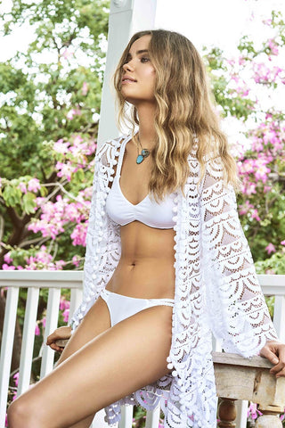 Water Lily White Pom Pom Lace Kimono from PilyQ 2017 Summer Collection
