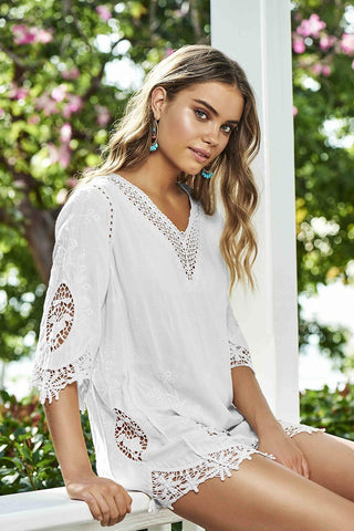 Water Lily Daria White Tunic from PilyQ 2017 Summer Collection