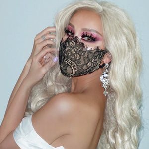 I WANT BOTH: Lace Debbie Carroll Masks Black & White