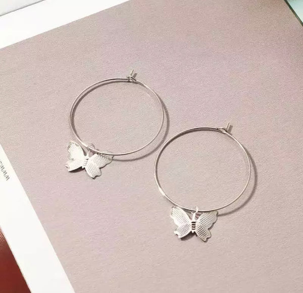 Dainty Butterfly Hoop Earrings