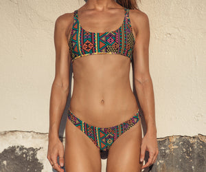 Kahili Top - Tribal Geo/Tropical Ginger