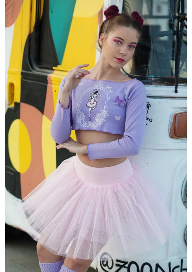 Lilac Fairy Long Sleeve Crop Top, Girl's