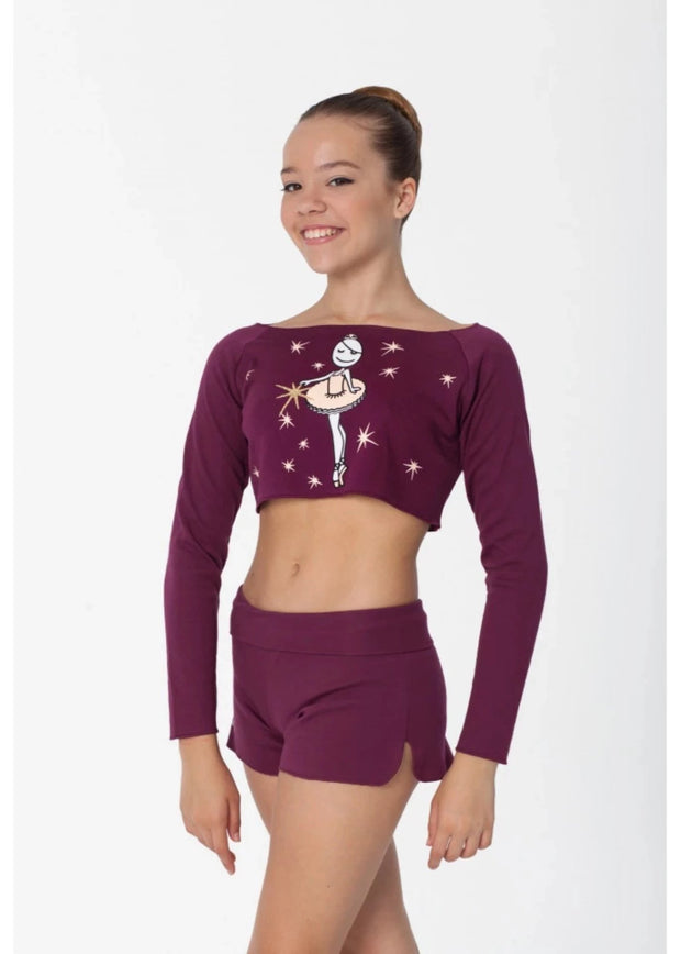 Women's Sugar Plum Long Sleeve Crop Top