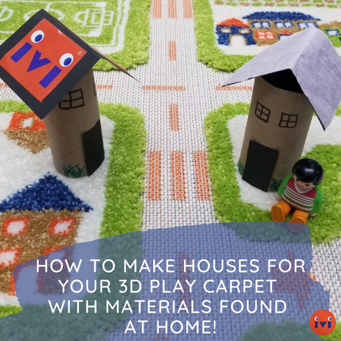 How to make houses for your 3D play carpet with materials found at home!