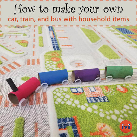 Easy DIY arts and crafts car, train, and bus for indoor play time!