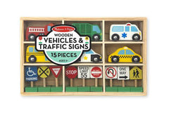 15-Piece Wooden Vehicles and Traffic Signs