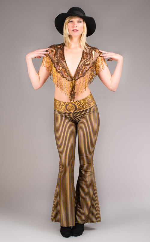 Velvet Grateful Dead gold and brown stripped bell bottoms