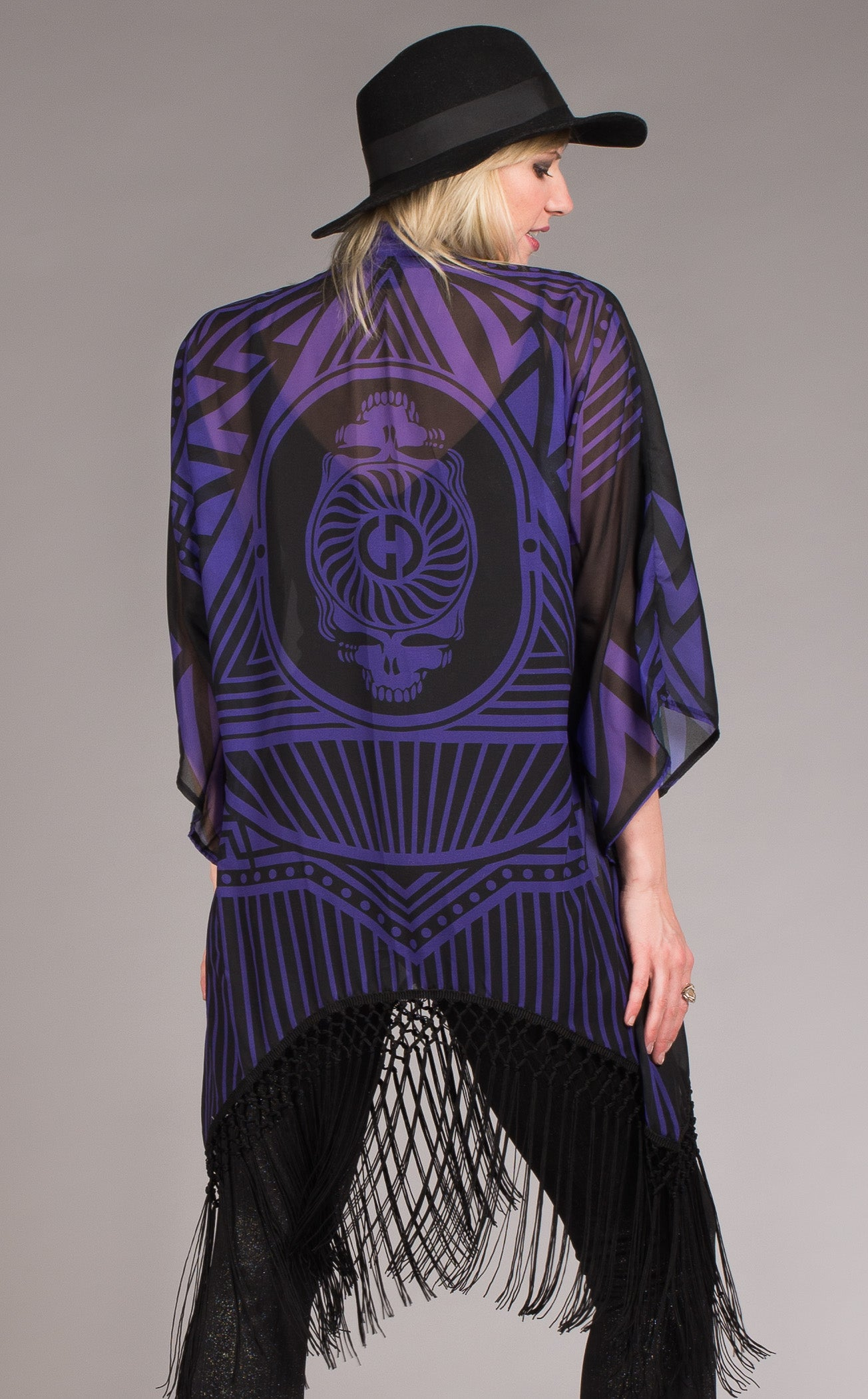 Grateful Dead Clothing-fringed purple and black skeleton kimono