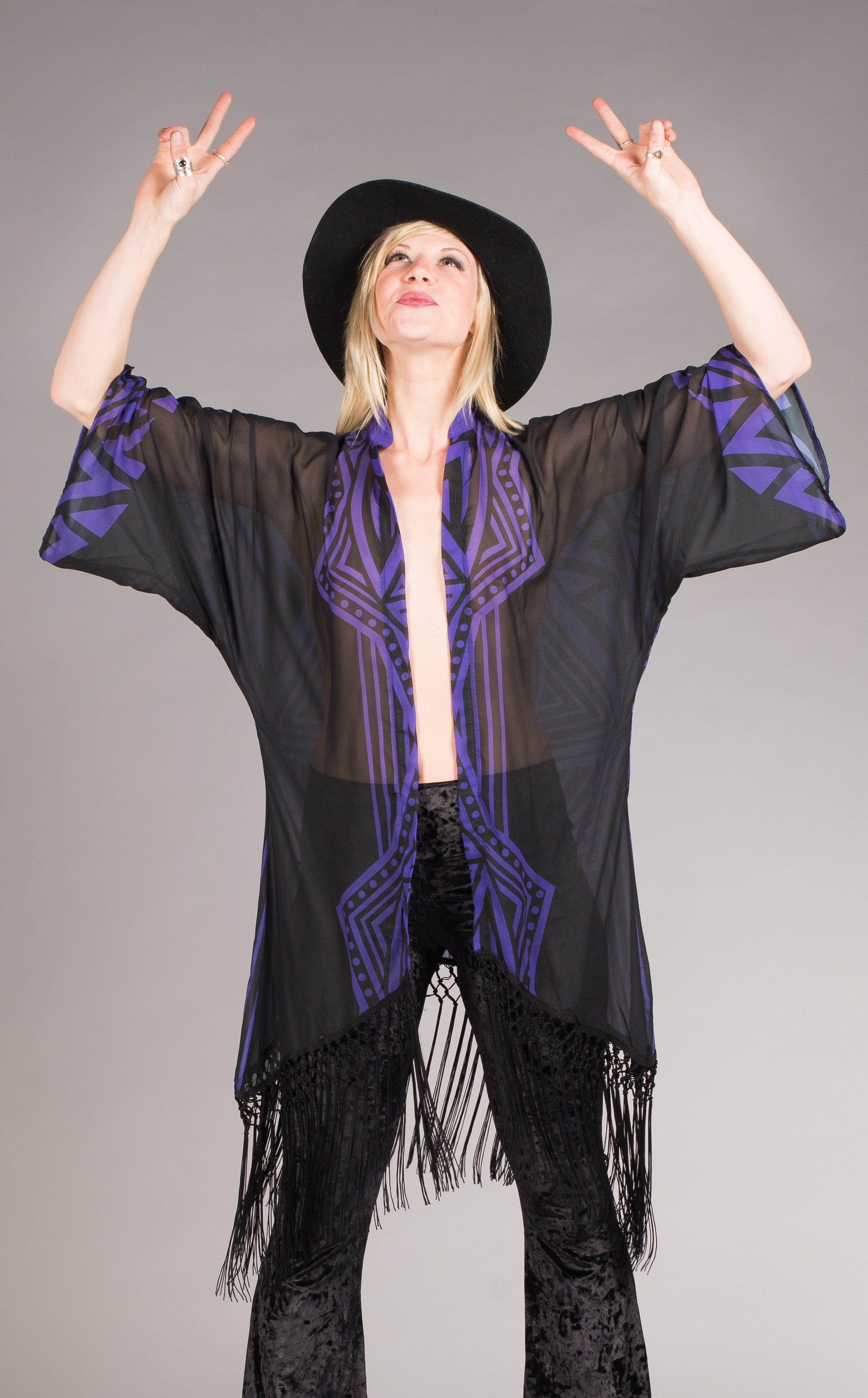Purple &  black fringed Grateful Dead skeleton Kimono