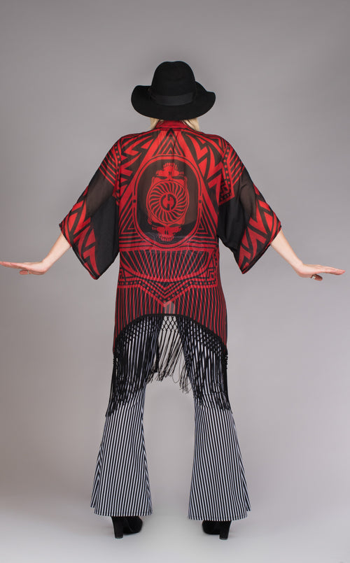 Red & Black fringed kimono w/Grateful Dead Skeleton