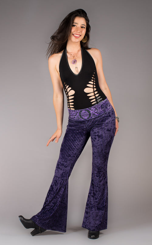 Grateful Dead Velvet Bell Bottoms - Royal Purple