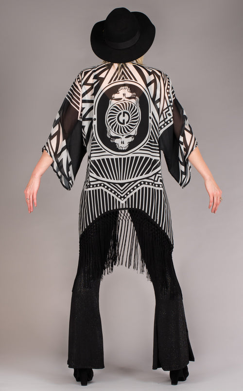 Black & white fringed Grateful Dead Kimono w/Skeleton