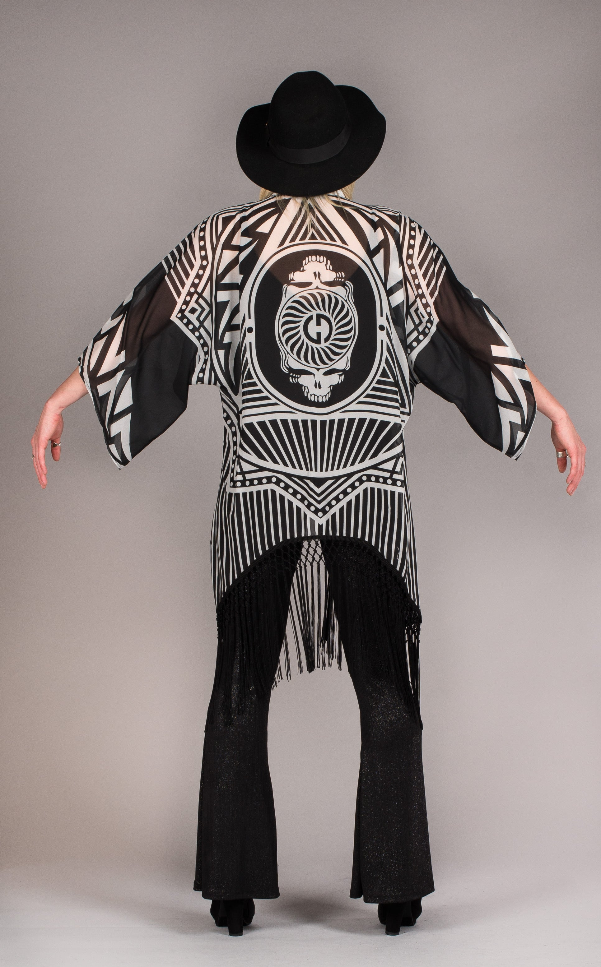 Grateful Dead skeleton robe w/fringe-Black and white