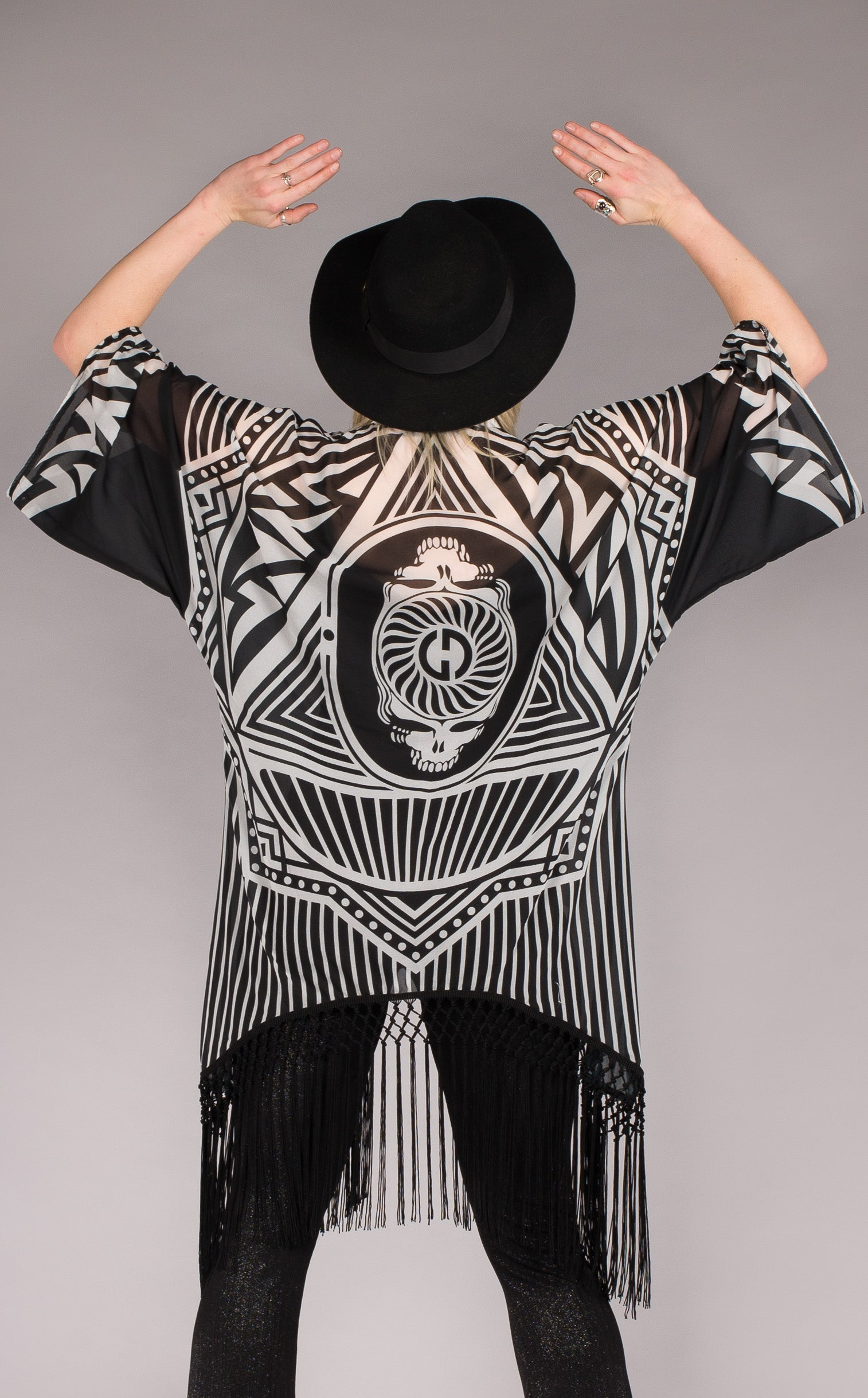 Grateful Dead Clothing-Fringed black & White kimono