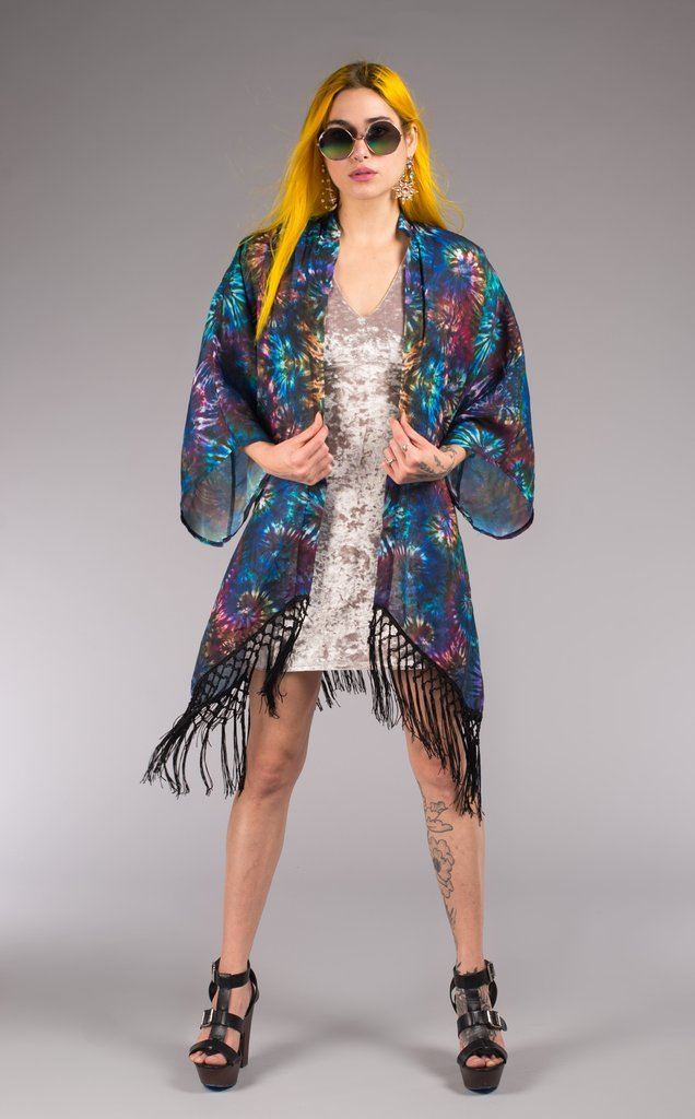 Tie-Dye Kimono. Perfect over accessory for beach or festival with 8 inch knotted black fringe Bright + Light in weight and print Original Art: Coral by Jammin Warrior Collective