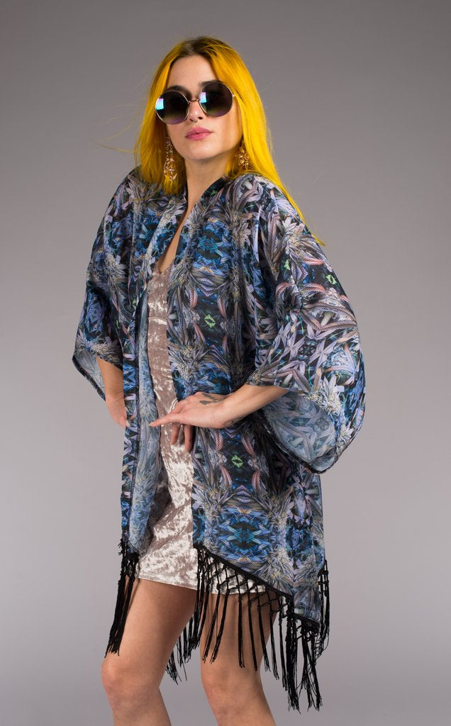 Tie-Dye Kimono. Perfect over accessory for beach or festival with 8 inch knotted black fringe Bright + Light in weight and print Original Art: Ganja Tie-Dye Night Owl by Jammin Warrior Collective