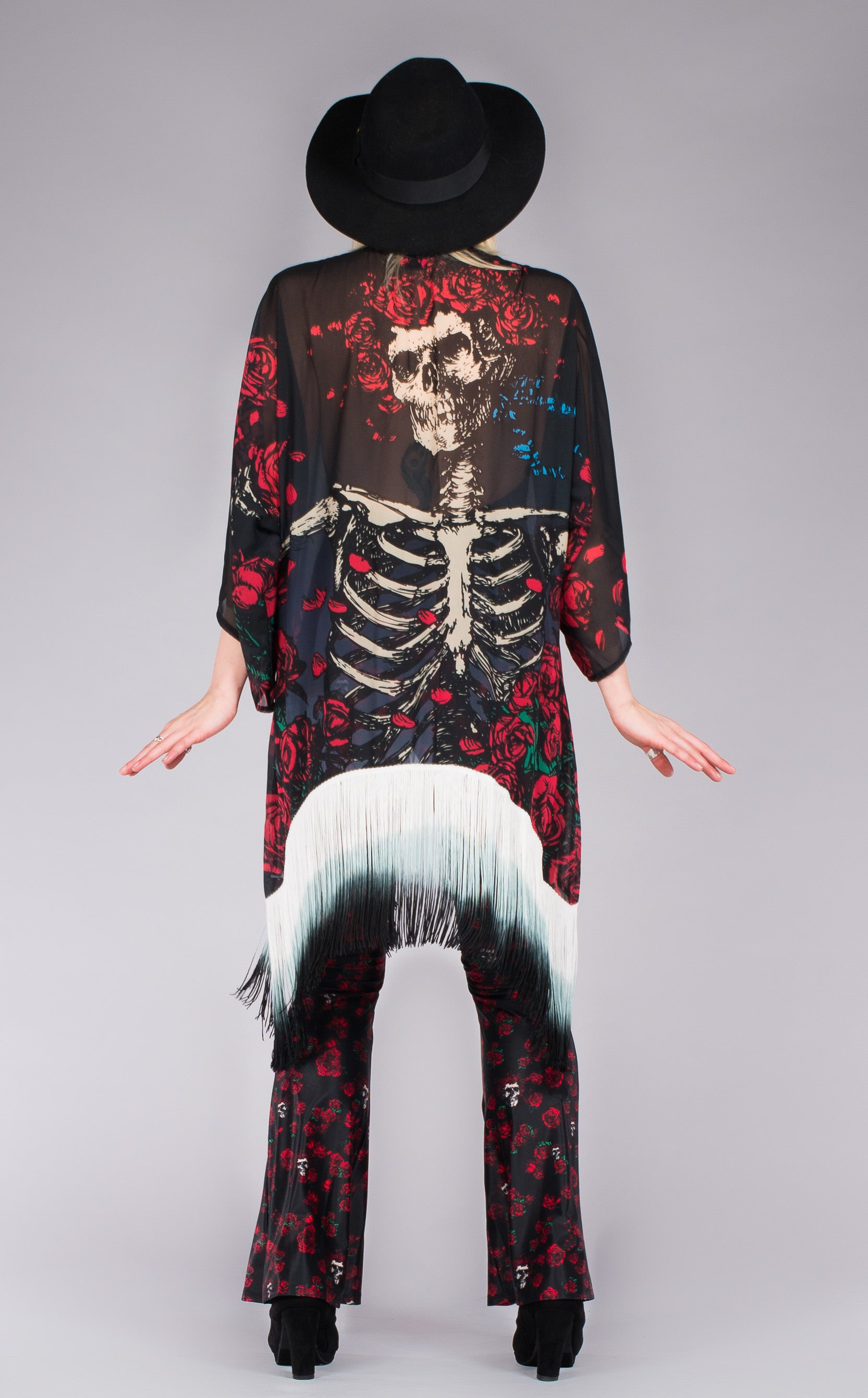 Grateful dead festival clothing-kimono with skeleton and roses