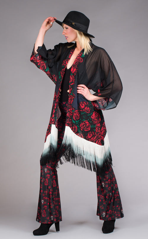 Grateful Dead Red, black & white fringe skull & rose kimono