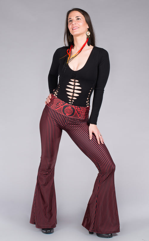 Red & black stripped Grateful Dead bell bottoms w/skull