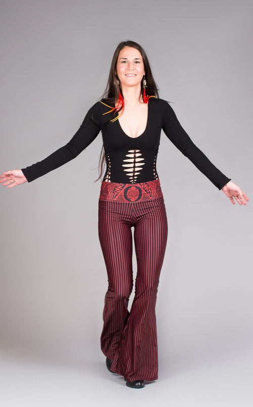 Red & black stripped Grateful Dead bell bottoms w/skeleton