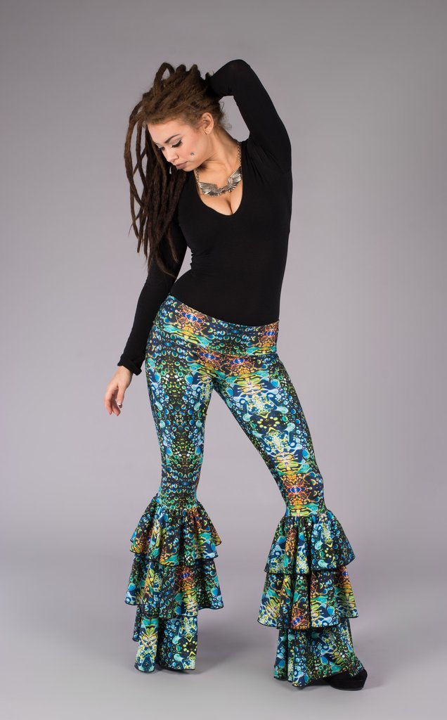 Green Liquid Light Ruffle Bell Bottoms