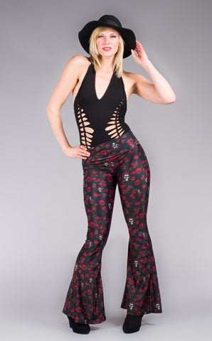 Grateful Dead Velvet Bell Bottoms - Skulls n Roses