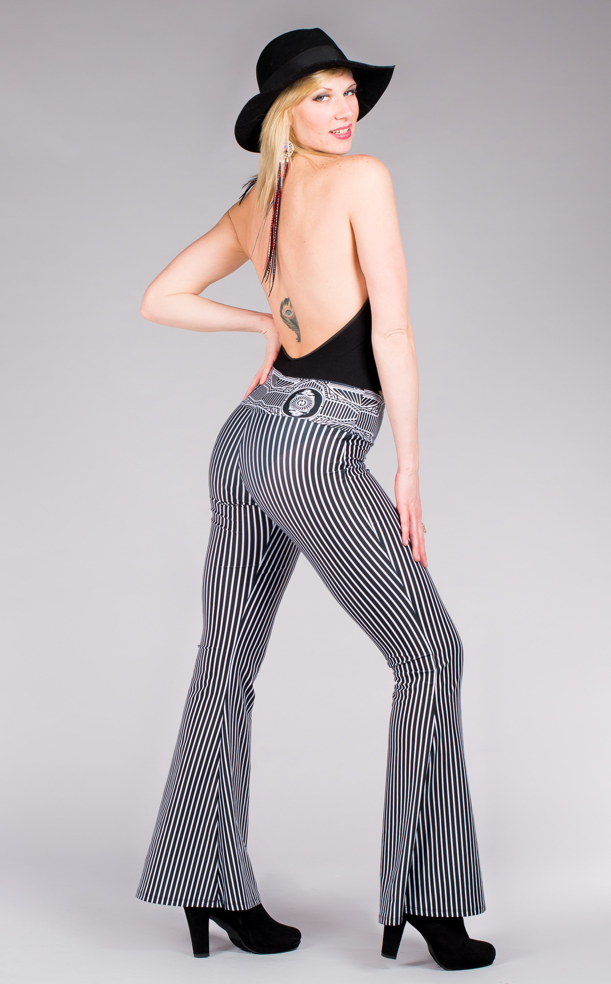 Grateful Dead Black & white stripped bell bottom pants