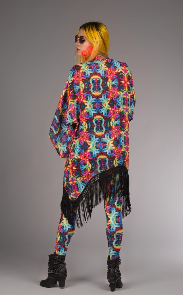 Tie-Dye Kimono. Perfect over accessory for beach or festival with 8 inch knotted black fringe Bright + Light in weight and print Original Art: Tie-Dye Roses by Jammin Warrior Collective