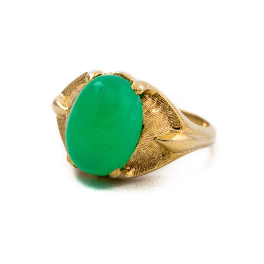 10kt Gold Chrysoprase Ring - Kingdom Jewelry