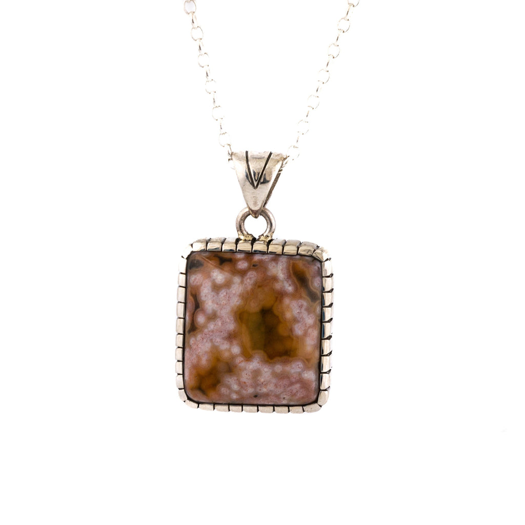 Square Salmon // Mustard Ocean Jasper Pendant by Kingdom
