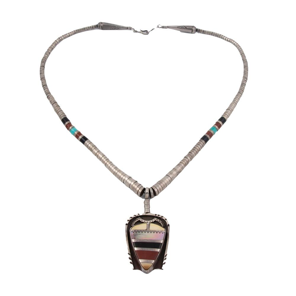 1980's Inlay X Heishi Necklace - Kingdom Jewelry