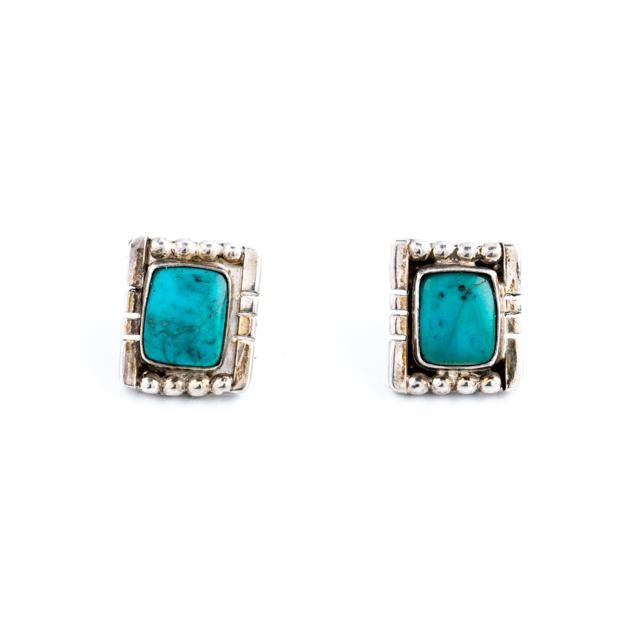 Square Turquoise Navajo Earrings