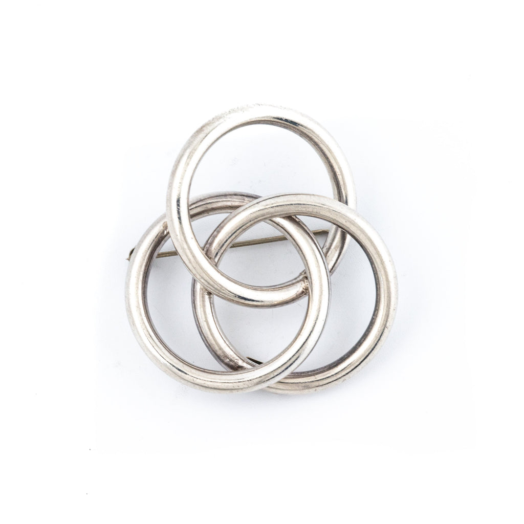 "Modernist 1970's ""Three Ring"" Taxco Silver Brooch"