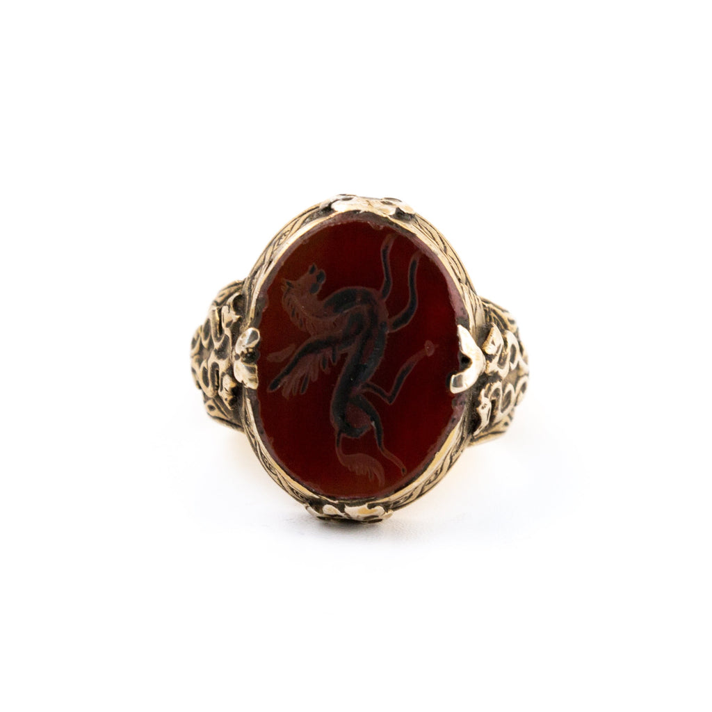 "Gilded Carved Carnelian ""Pegasus"" Signet Ring"