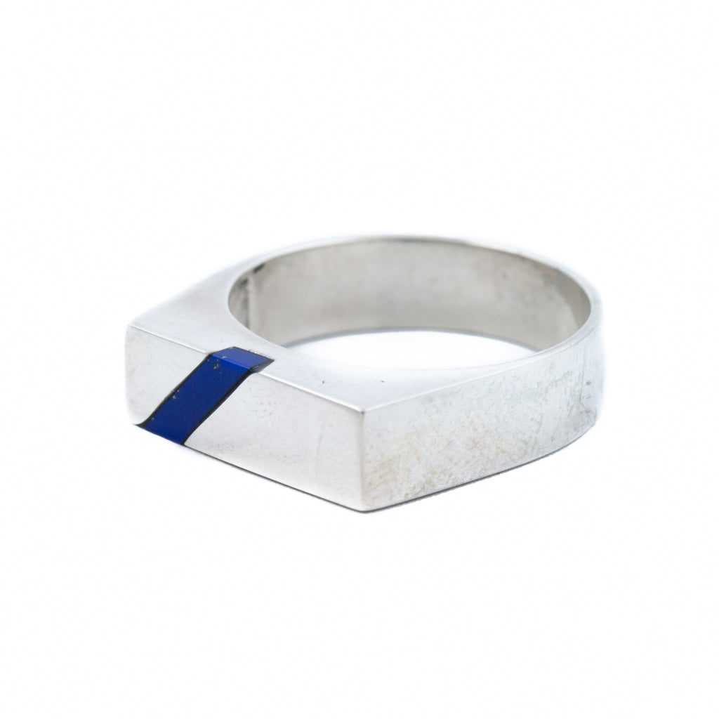 Slim Offset Lapis Ring