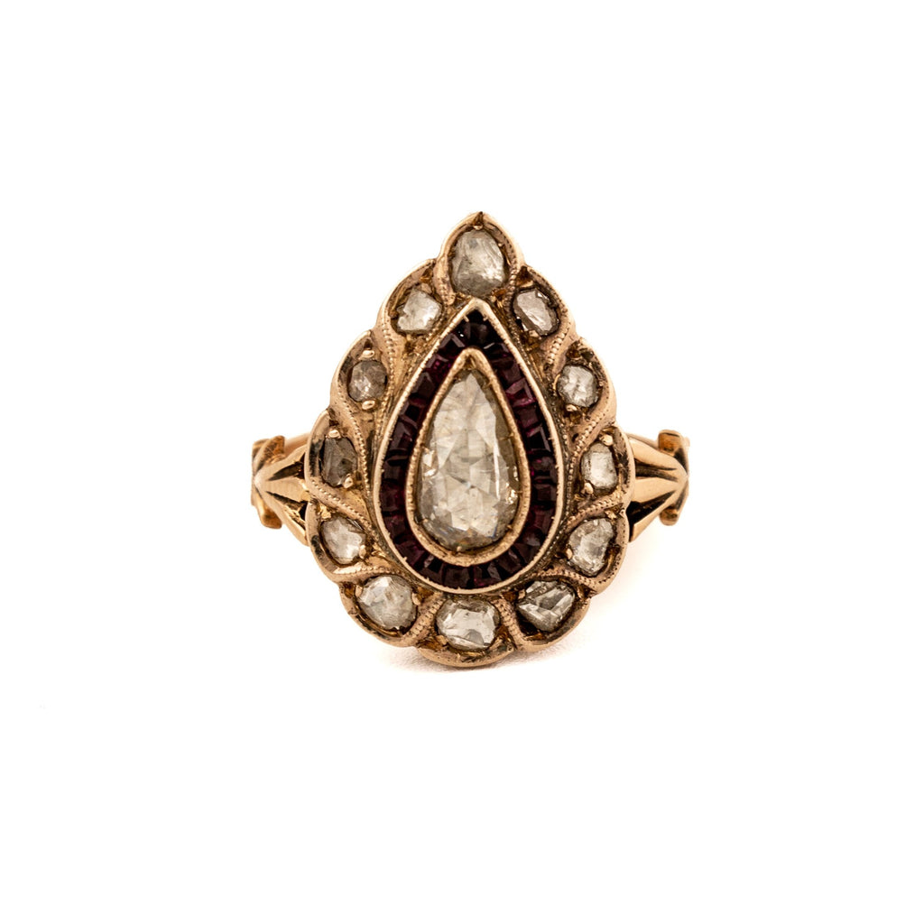 Antique Pear Shaped Diamond, Ruby & 14kt Gold Ring