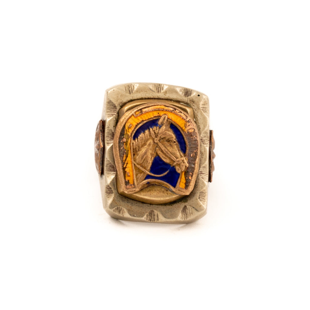"Blue / / Yellow Enamel 1940's Bronze Mexican ""Colt"" Biker Ring"""