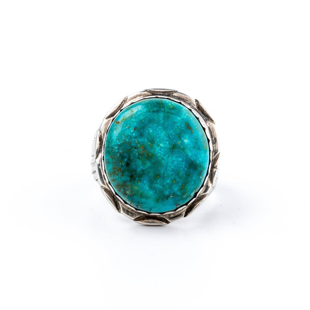 Round 1980's Vintage Fox Turquoise Navajo Ring