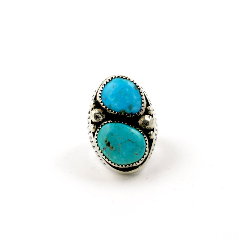 Heavy Southwestern Double Green & Blue Turquoise Navajo Ring circa 1970s