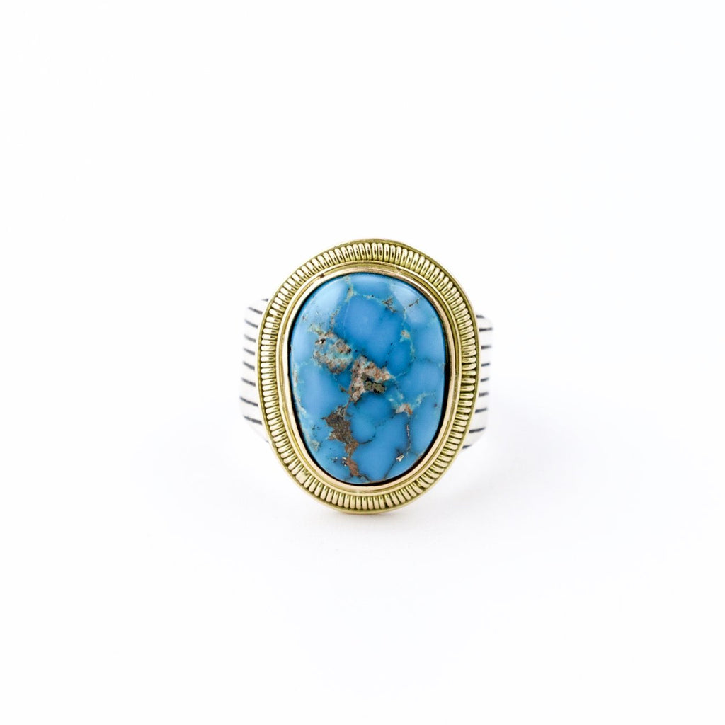"Electric Blue Morenci Turquoise Contemporary ""Midas"" Ring w/ 14 KT Gold Bezel by Turquoise Kingdom"