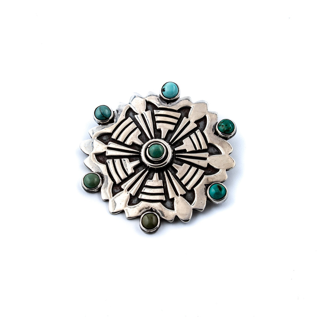 Exceptional 1970's Taxco Spiderweb Wheel Brooch