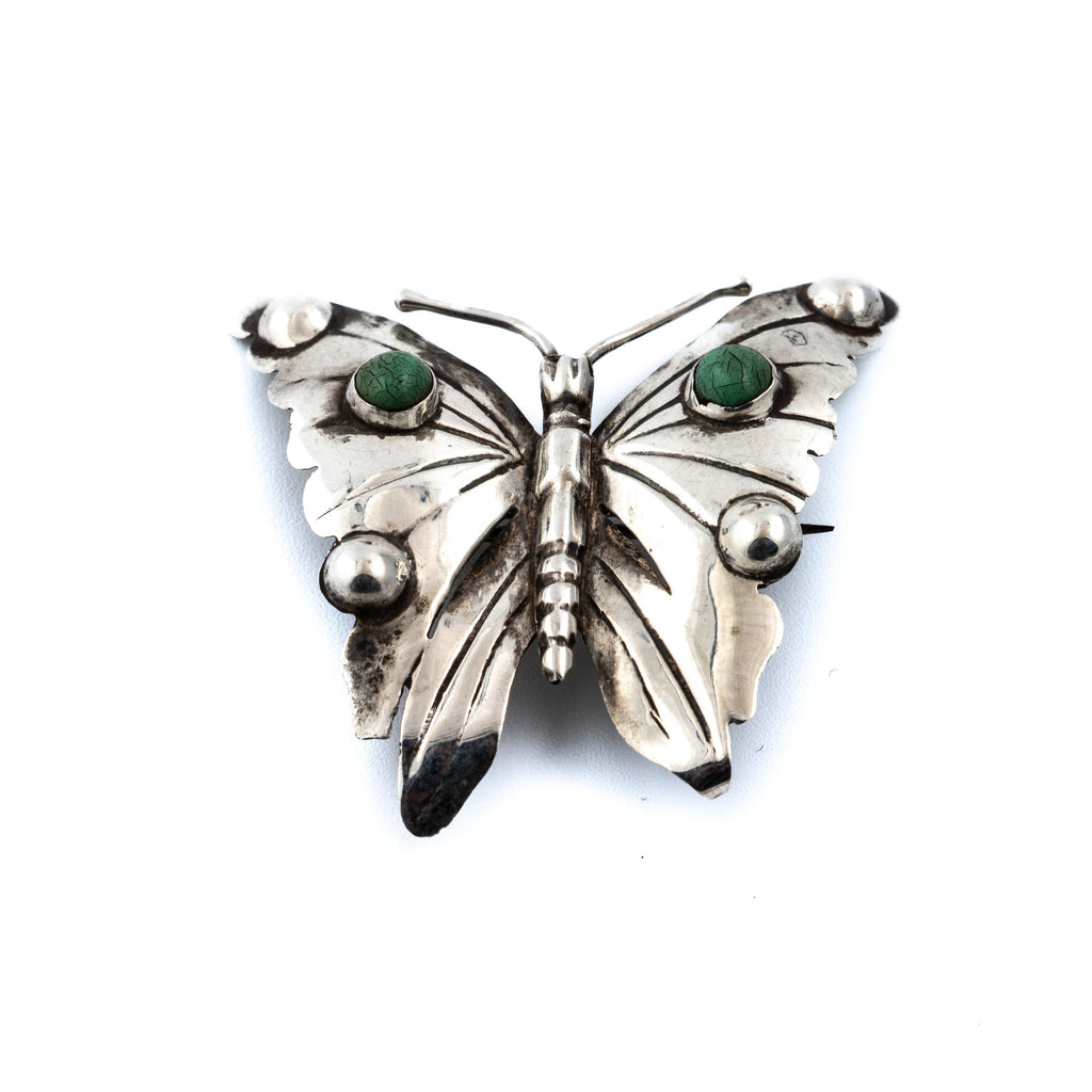 Vintage Sterling Silver Butterfly Brooch Pin w/ Green Turquoise