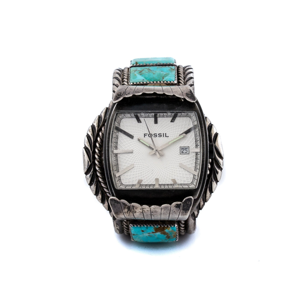 "Wing-Tipped ""Fossil"" Navajo Watch Cuff w/ Kingman Turquoise"