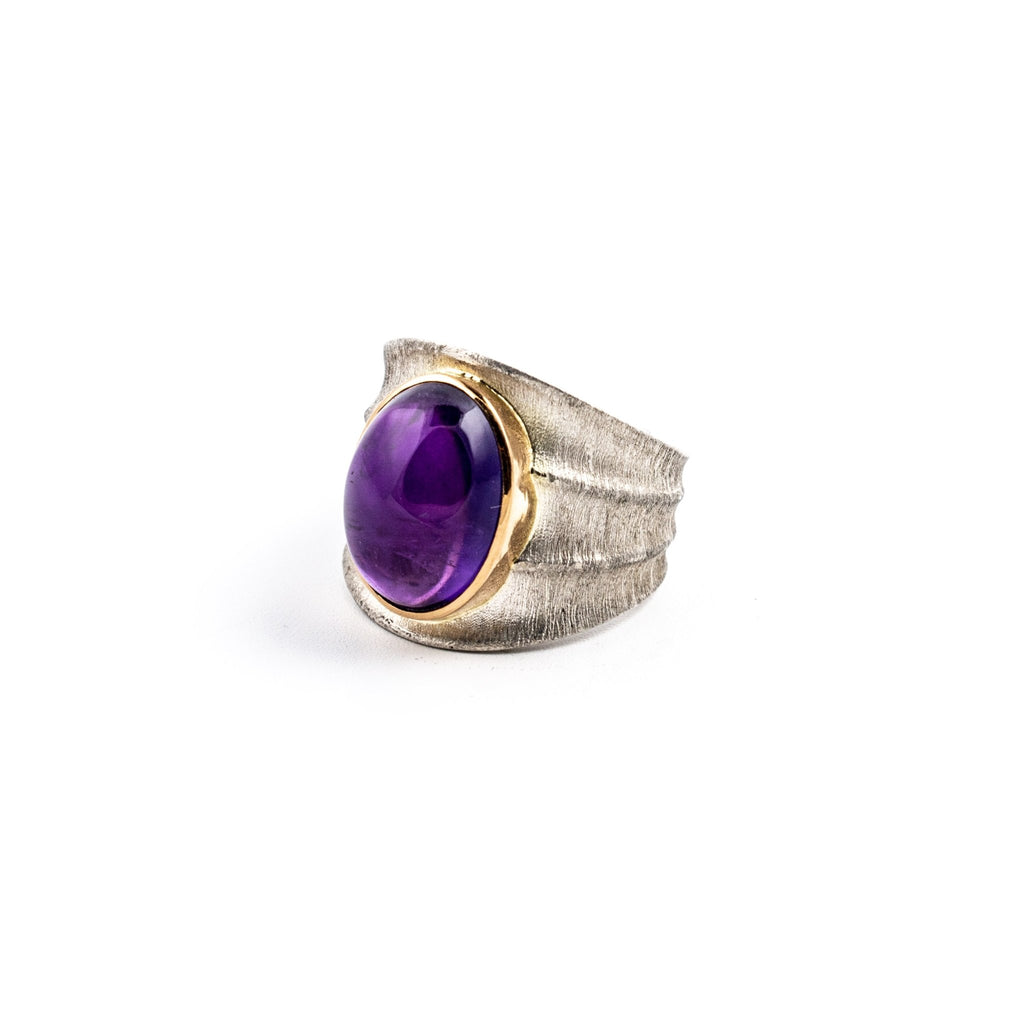 Amethyst Bamboo Ring - Kingdom Jewelry