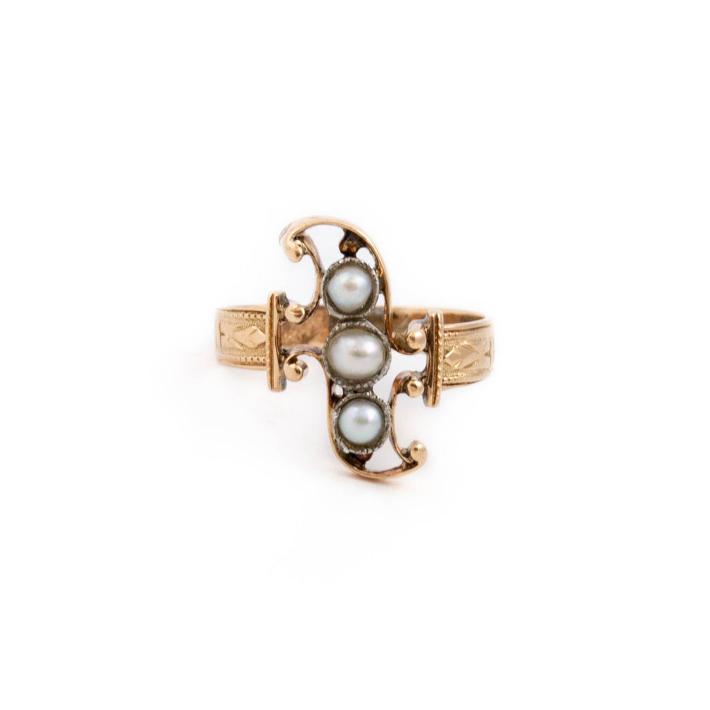 Antique Gold Pearl Ring - Kingdom Jewelry